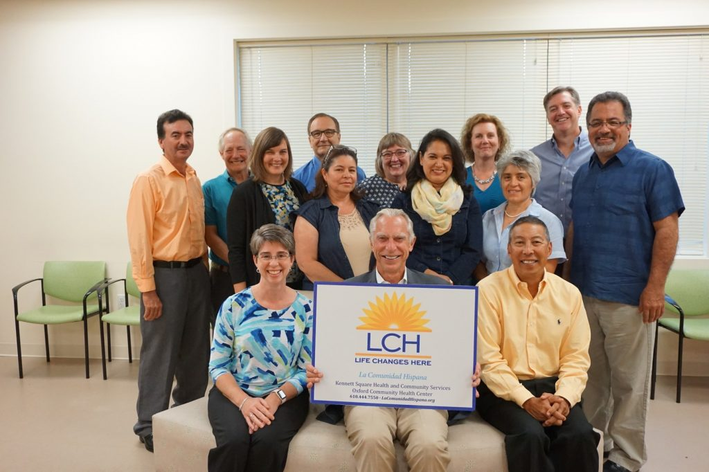 Group photo of LCH board members in the Kennett Sqare waiting room.