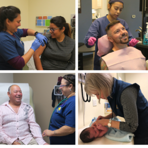 Collage of four images: Female nurse gives vaccine to female patient; female dental assistant puts bib on adult male dental patient; female medical assistant takes the pulse of an adult male patient; and female pediatrician checks the vitals of an infant.