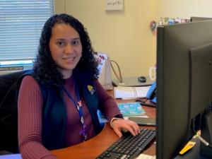 Cristina at her computer at LCH