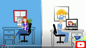 Cartoon image of patient and provider during a Telehealth appointment