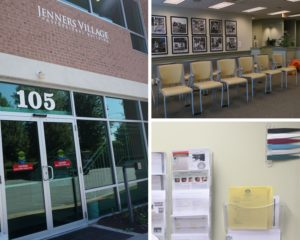 Photo collage of women's health center facility