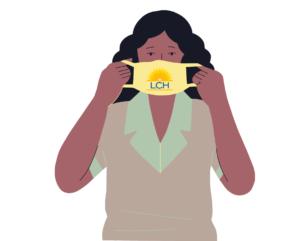 cartoon image woman wearing a mask