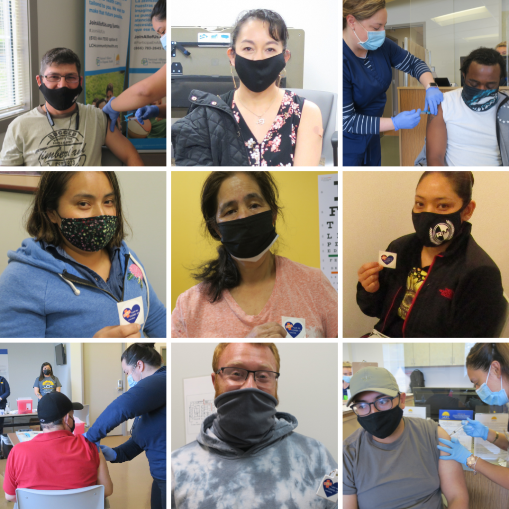 photo collage of patients getting vaccines